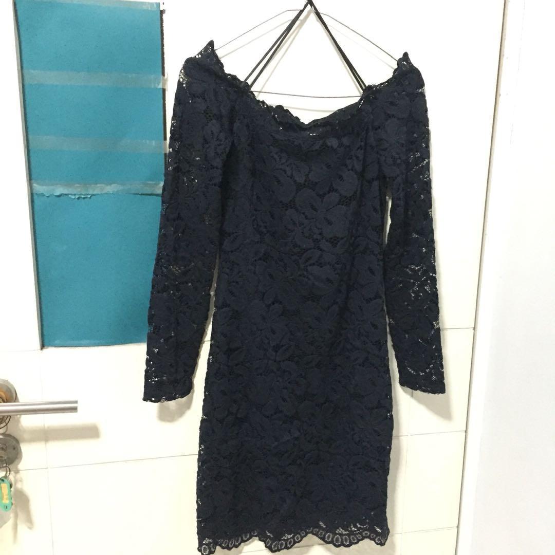 H&m Navy Dress Brokat