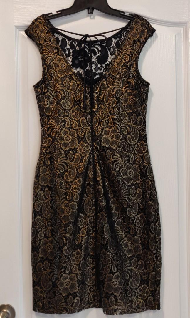 Le Chateau Black and Gold Bodycon Small size Dress