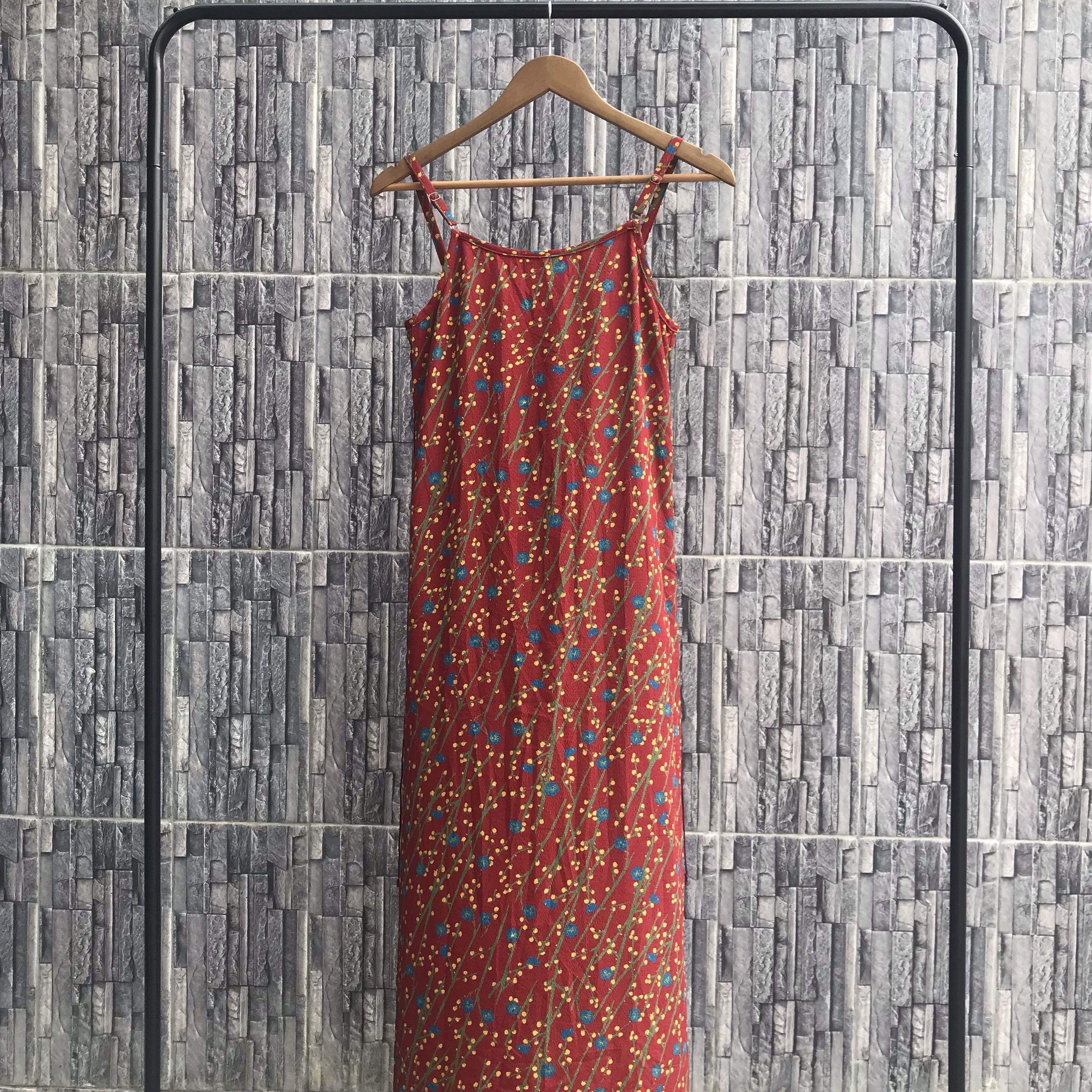 Maroon Abstract Print Tank Dress