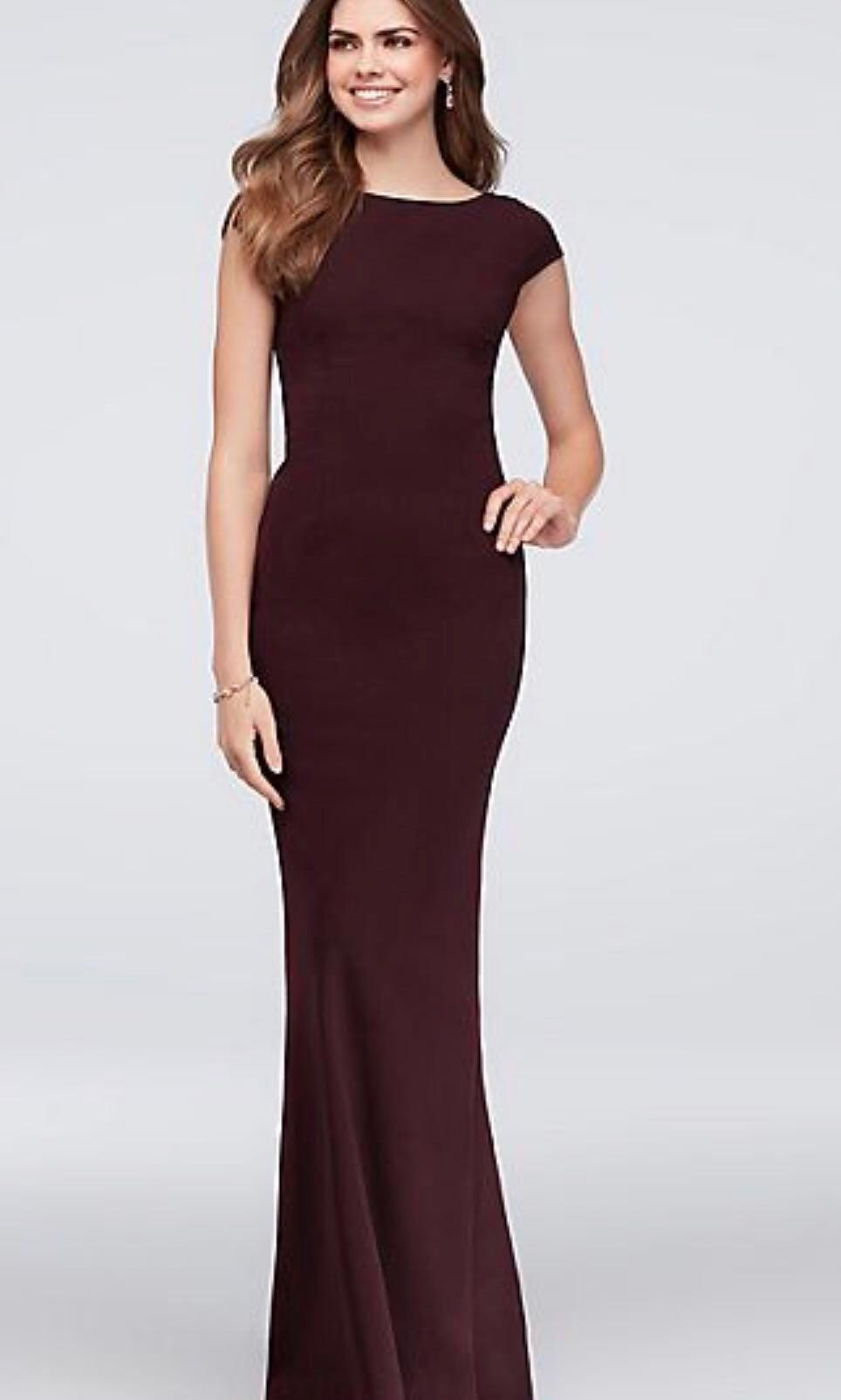David's Bridal Cap-Sleeve Crepe Sheath Gown with Deep-V Bow Back - Prom/Bridesmaid's Dress - Wine - Size 6