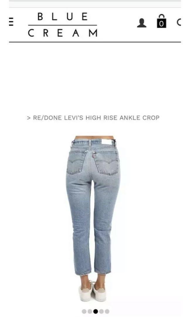 Redone re/done levis high waist crop ankle jeans 26 brand new