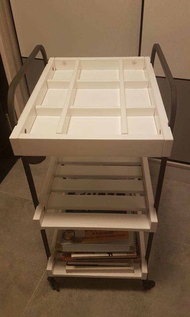 Side board shelf with wheels
