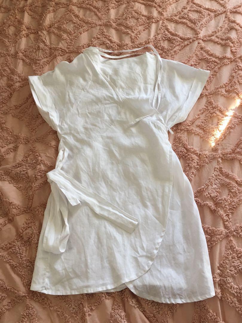 Sir The Label 100% Linen Abele Wrap Dress Size 1 RRP$340