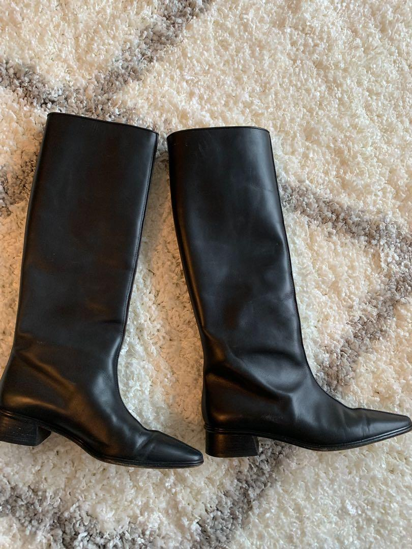 Size 8 black leather knee high Walter Steiger boots