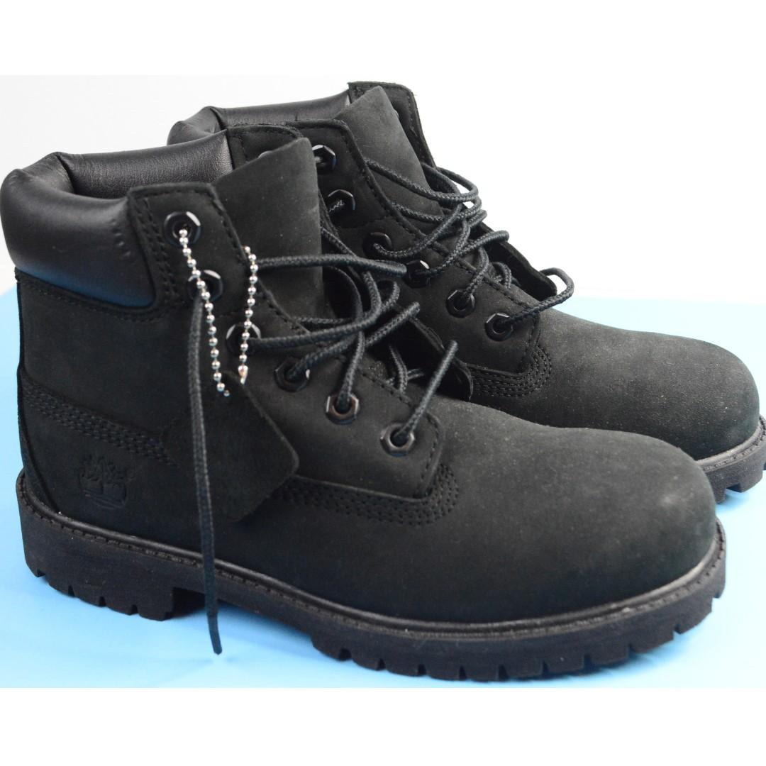 "TIMBERLAND BOYS SIZE 2.5US JUNIOR 6"" PREMIUM BOOT SUEDE BLACK"