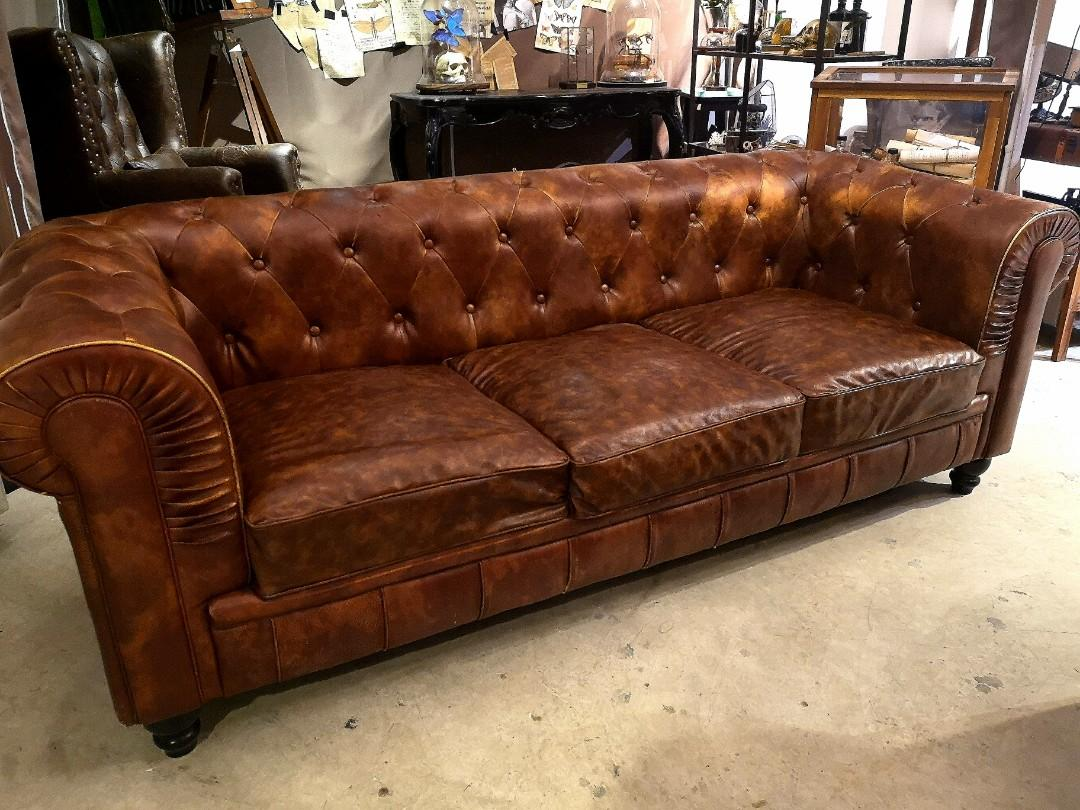 Fabulous Upholstery Faux Leather Vintage 3 Seater Sofa Furniture Cjindustries Chair Design For Home Cjindustriesco