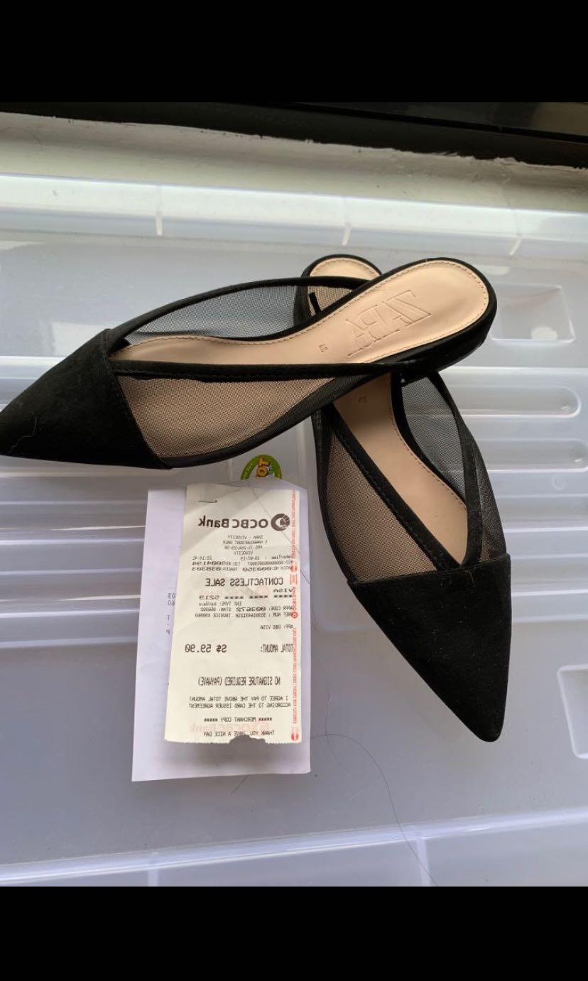 ZARA Black Flat Sandals, Women's