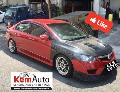 Full MOD Candy red Honda Civic 2.0M for PHV rent or personal