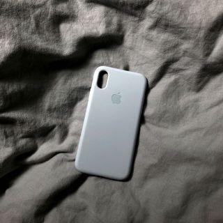 iPhone X 全包淺藍灰色簡約手機殼
