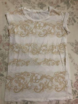White lace patterned shirt