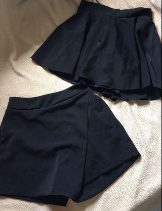 Black Skorts Skater Skirt wavy