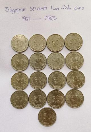 SG 50 cents lion fish coins