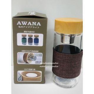 【全新現貨】 Awana 350ML 日式濾網玻璃隨行杯 防燙設計 泡茶玻璃杯 冷熱泡茶杯