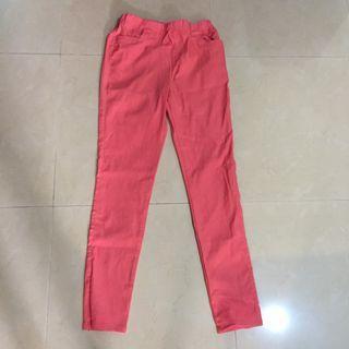 橘粉色L彈力褲