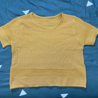 黃色短版彈性合身上衣