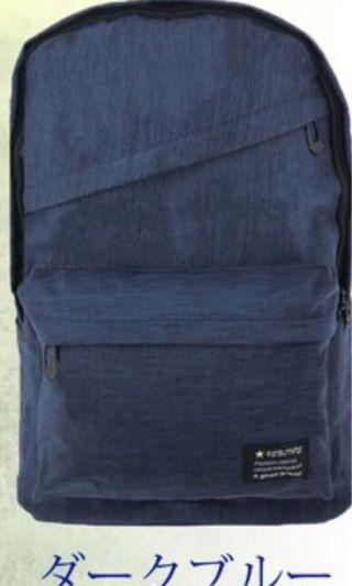 後背包 深藍色 空間大 可放筆電  上課書包 旅遊包