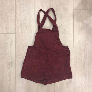 二手 H&M 紅色 可愛 吊帶褲