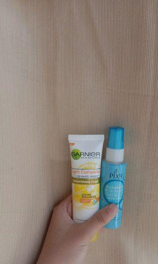 pixy aqua beauty dan garnier brightening foam lemon
