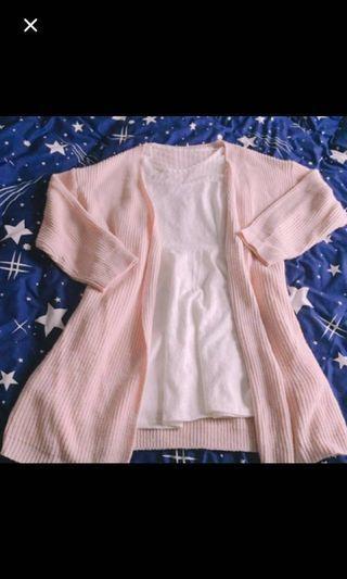 實拍!粉嫩嫩少女心毛衣外套粉色甜美可愛長版外套寬鬆中長版中長款罩衫 #五折出清女裝