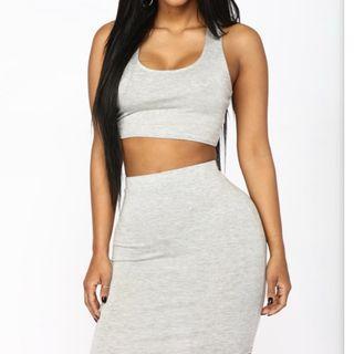 Fashionnova grey skirt set
