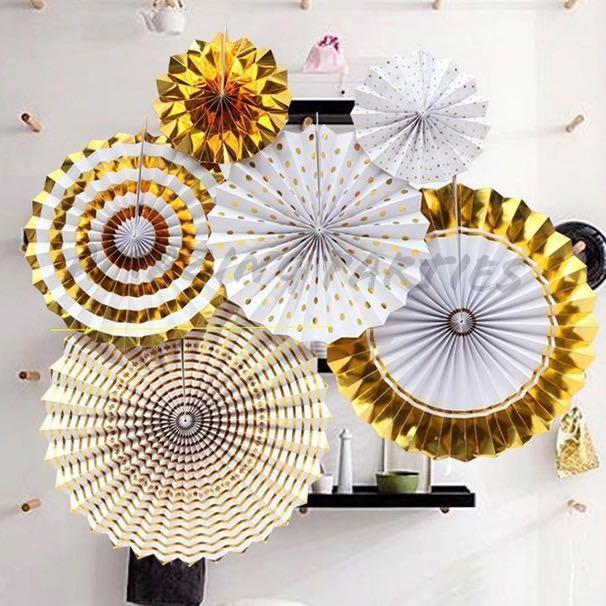 6pc Gold Paper Party Decoration Fan Set #MRTCCK #MRTWoodlands #MRTJurongEast