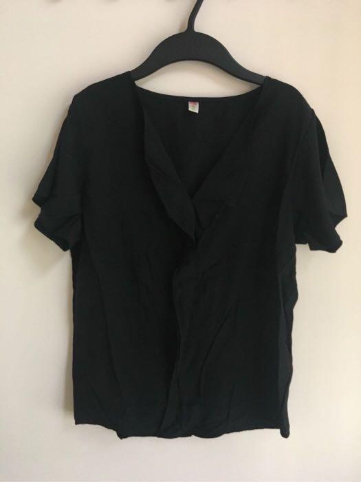 韓國 Korea 女裝 黑色雪紡上衣(襯衫tee)