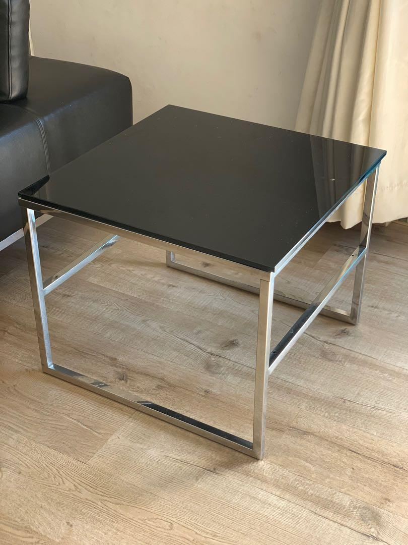 Picture of: Black Glass Coffee Table With Stainless Steel Legs Furniture Tables Chairs On Carousell