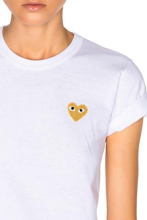 Comme Des Garcons Play Women's Gold Heart Logo Tee