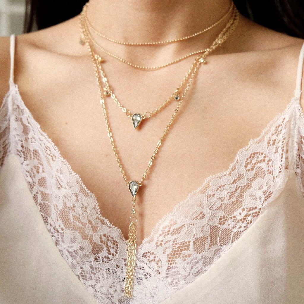 crystal mae layer necklaces gold
