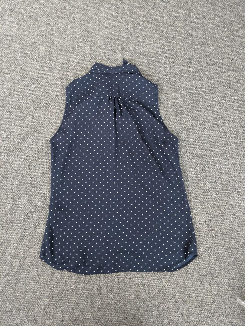 H&m - polka dot sleeveless shirt with front pussy bow - EU 32 #swapau