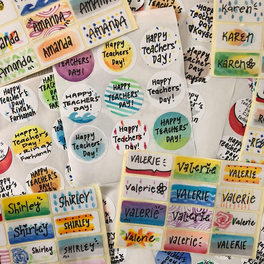 books Medium 6cm Personalised Kids Name Labels -Girls school bottle stickers