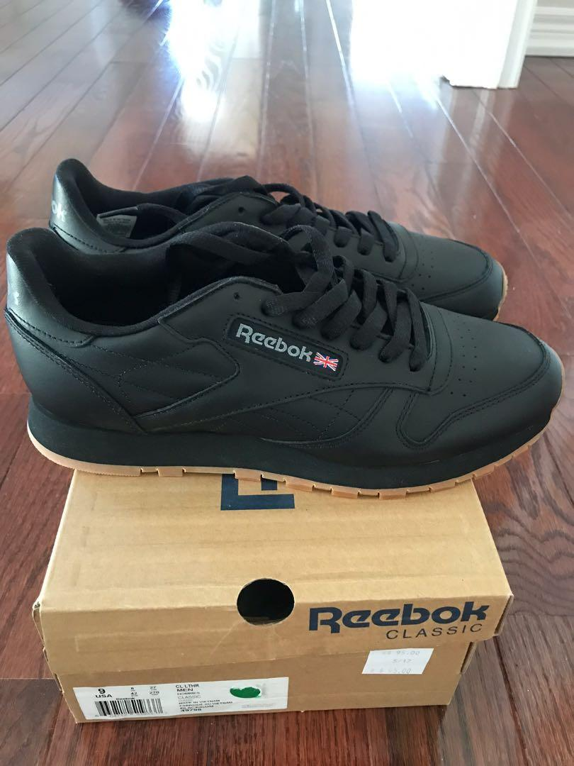Men's Classic Leather Sneakers - Black with Gum Soles