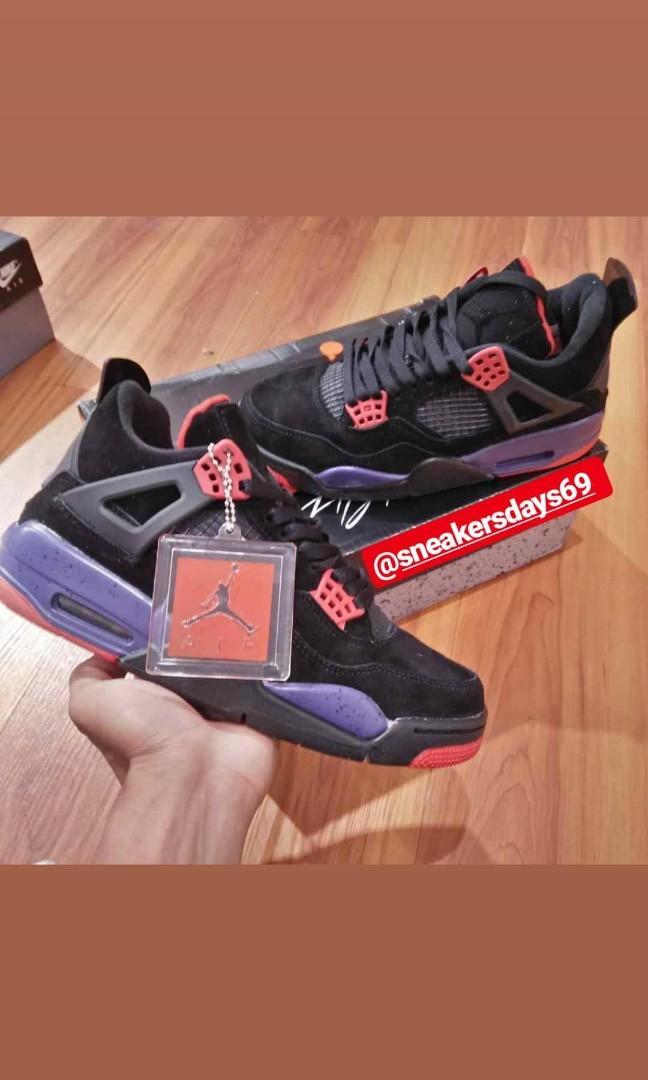 Nike Air Jordan 4 Retro Raptors Drake OVO 2019 Black Purple BNIB