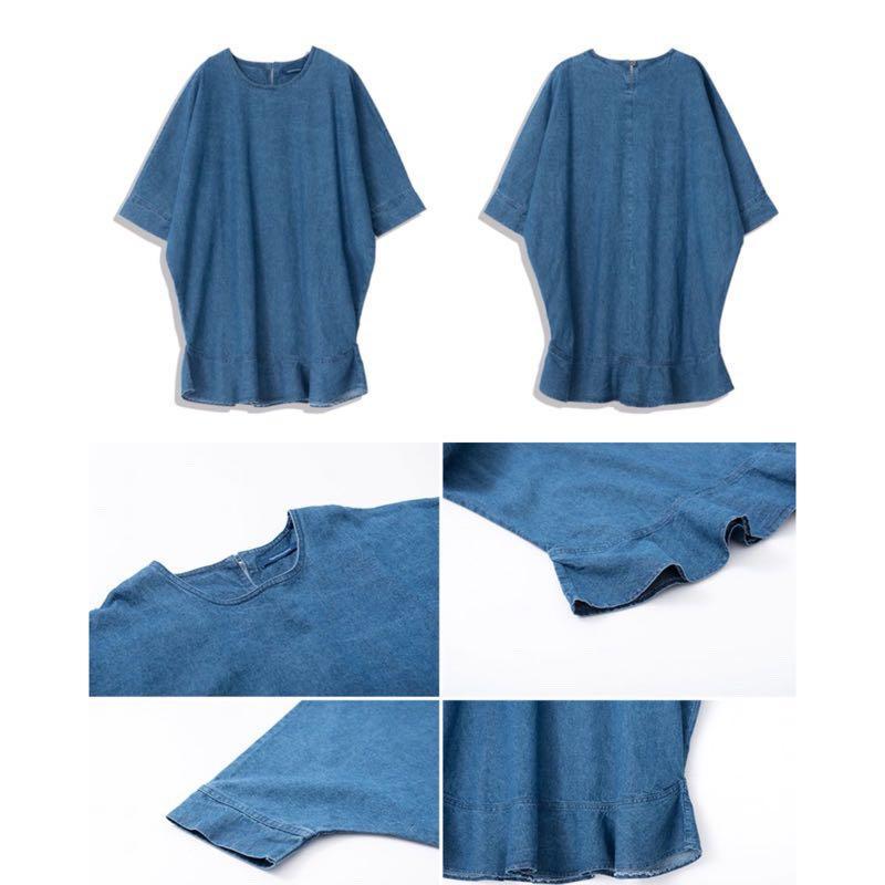 QUEEN SHOP七分袖襬荷葉牛仔洋裝