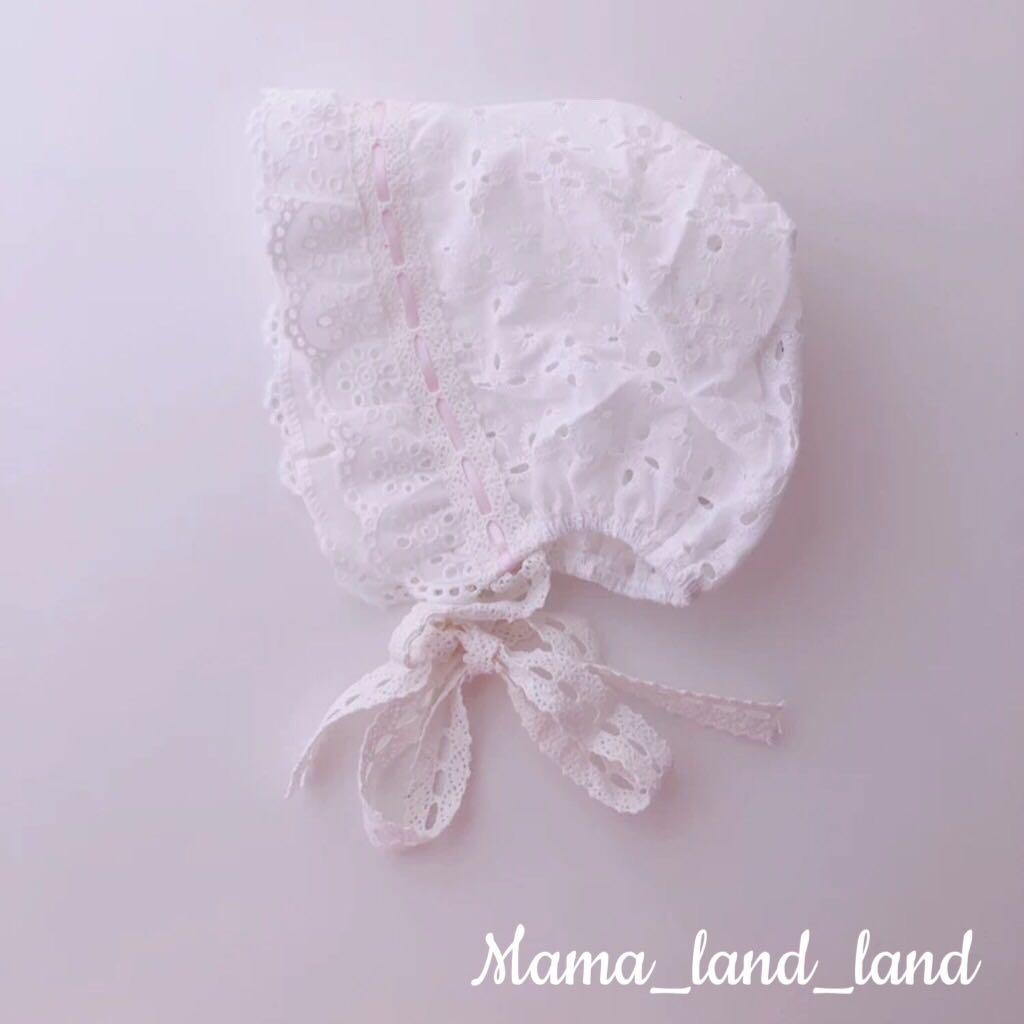 Gorgeous newborn baby cotton see through / eyelet hats ( for baptism/ ceremony/ birthday )