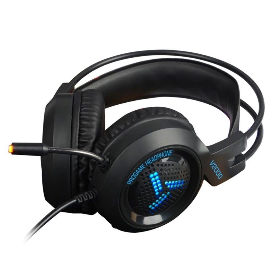 V2000 Headset 7.1 Channel 3.5mm Jack Bass Stereo Sound Effect Gaming Headphone With Mic for Computer PC Laptop Gamer Earphone