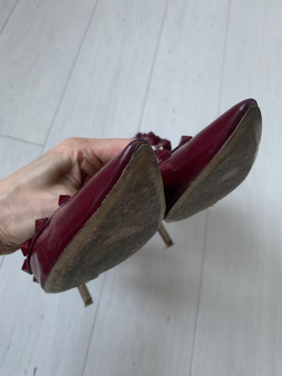 Valentino Garavani The Rockstud 65 leather pumps - burgundy Size AU7
