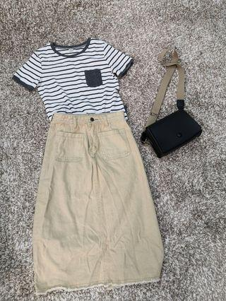 Denim skirt + striped t set inc postage
