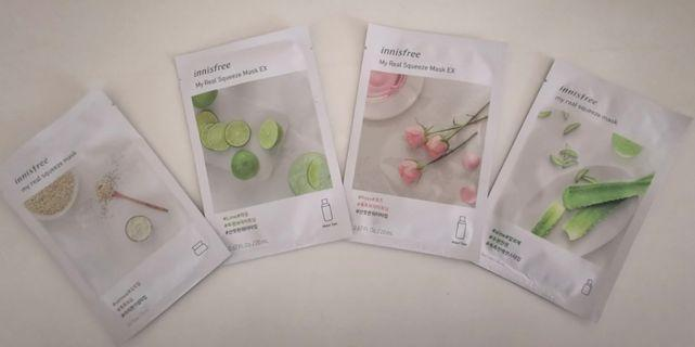 🆕 INNISFREE 4-piece my Real Squeeze Mask Sheet