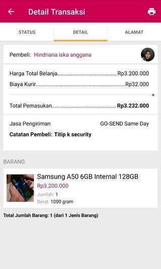 Testimoni Samsung A50 Soldout via Rekber