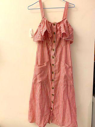 吊帶條紋洋裝