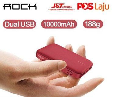 ROCK P51 Mini 10000mAh PowerBank LED Charger Dual USB Slim