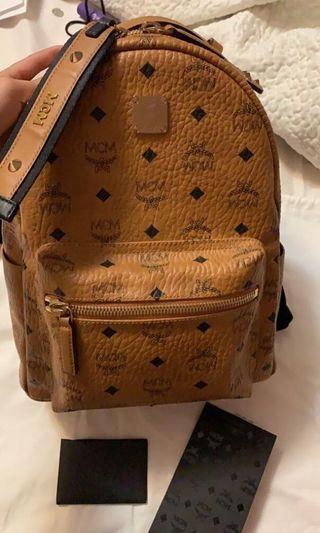 MCM stark studded cognac backpack small