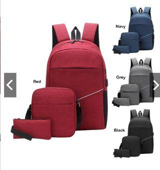 Unisex Casual Outdoor Travel Laptop  3 In 1 Backpack Set