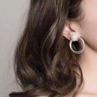 韓國 幾何銀白優雅珍珠圈圈耳環(夾式耳環)