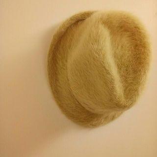 冬季款 10%羊毛,質感優雅米杏兔毛紳士帽