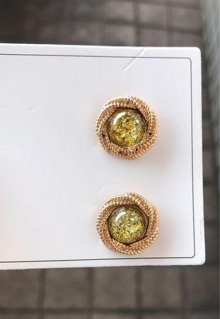 (可購買or買其他商品私訊贈送)金箔寶石耳釘