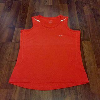 Nike Rich Red Running workout jersey top with Reflective stripes