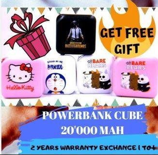 CUBE POWERBANK【20'000 Mah】 DORAEMON / WE BARE BEAR / PUBG