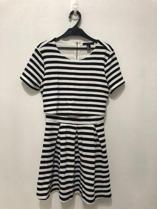 二手 黑白格紋條紋 洋裝 連身裙 forever 21